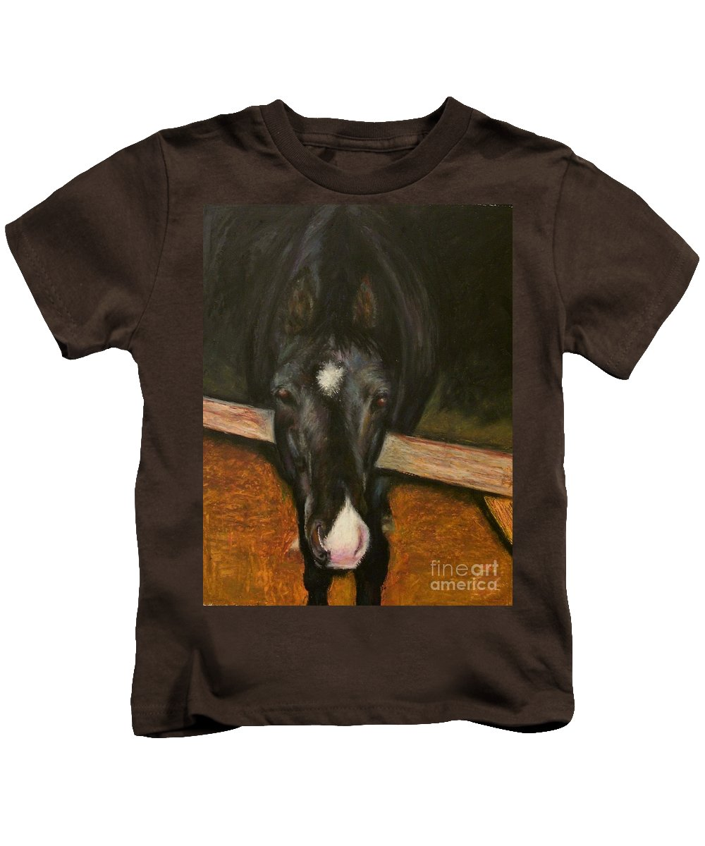 Horse Kids T-Shirt featuring the painting Jesse by Frances Marino