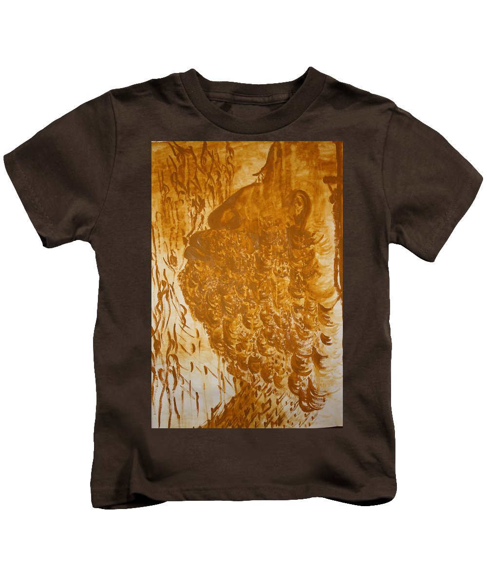 Jesus Kids T-Shirt featuring the painting Jesus Of Gethsemane by Gloria Ssali