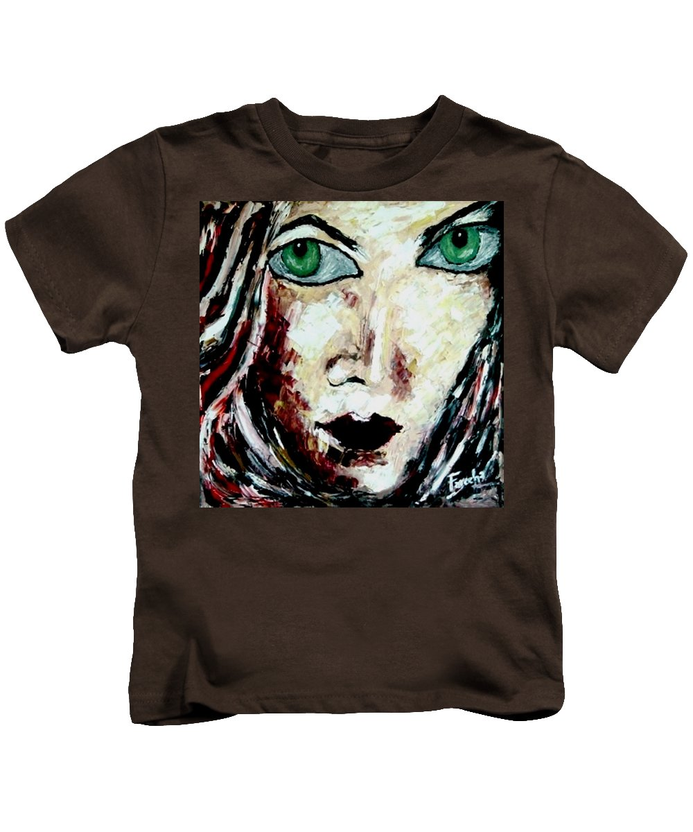 Oil Painting Kids T-Shirt featuring the painting Her by Fareeha Khawaja