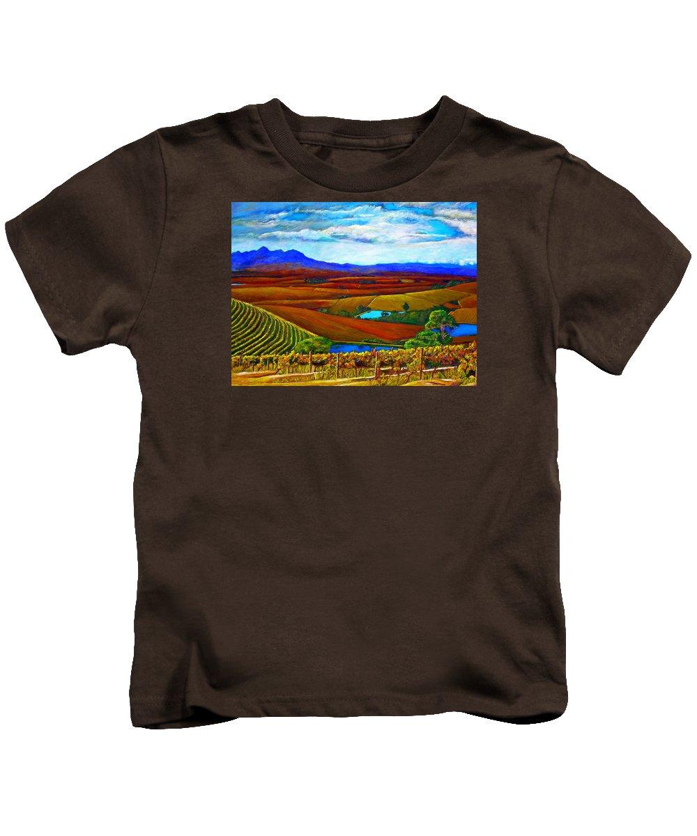 Vineyard Kids T-Shirt featuring the painting Jordan Vineyard by Michael Durst
