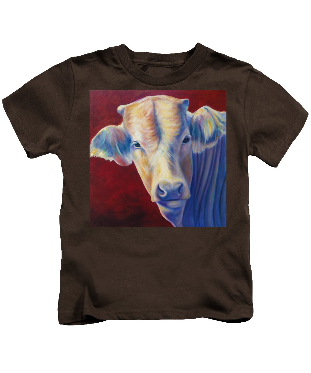 Bull Kids T-Shirt featuring the painting Jorge by Shannon Grissom