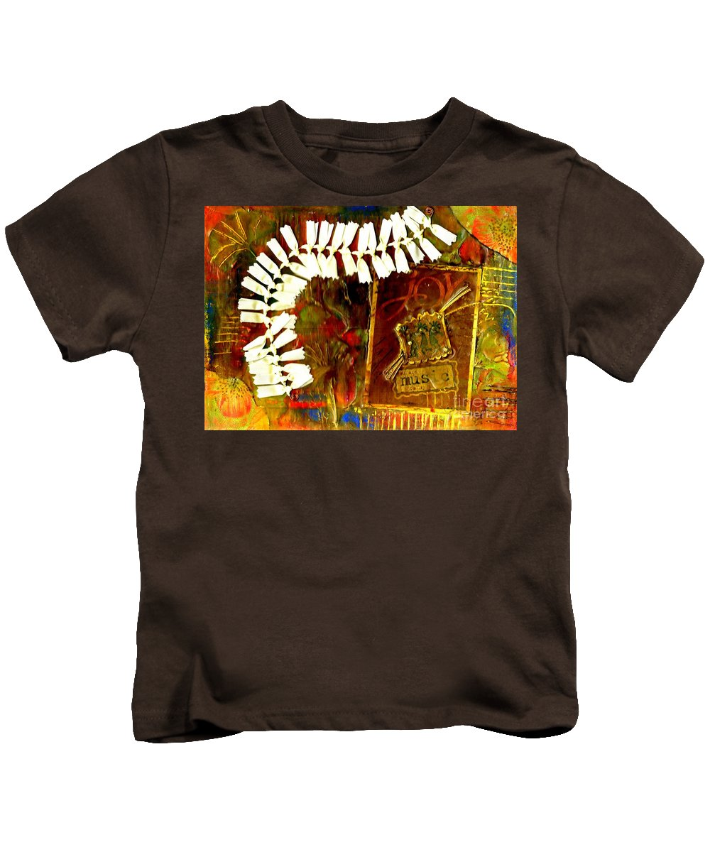 Abstract Kids T-Shirt featuring the mixed media JOY by Angela L Walker