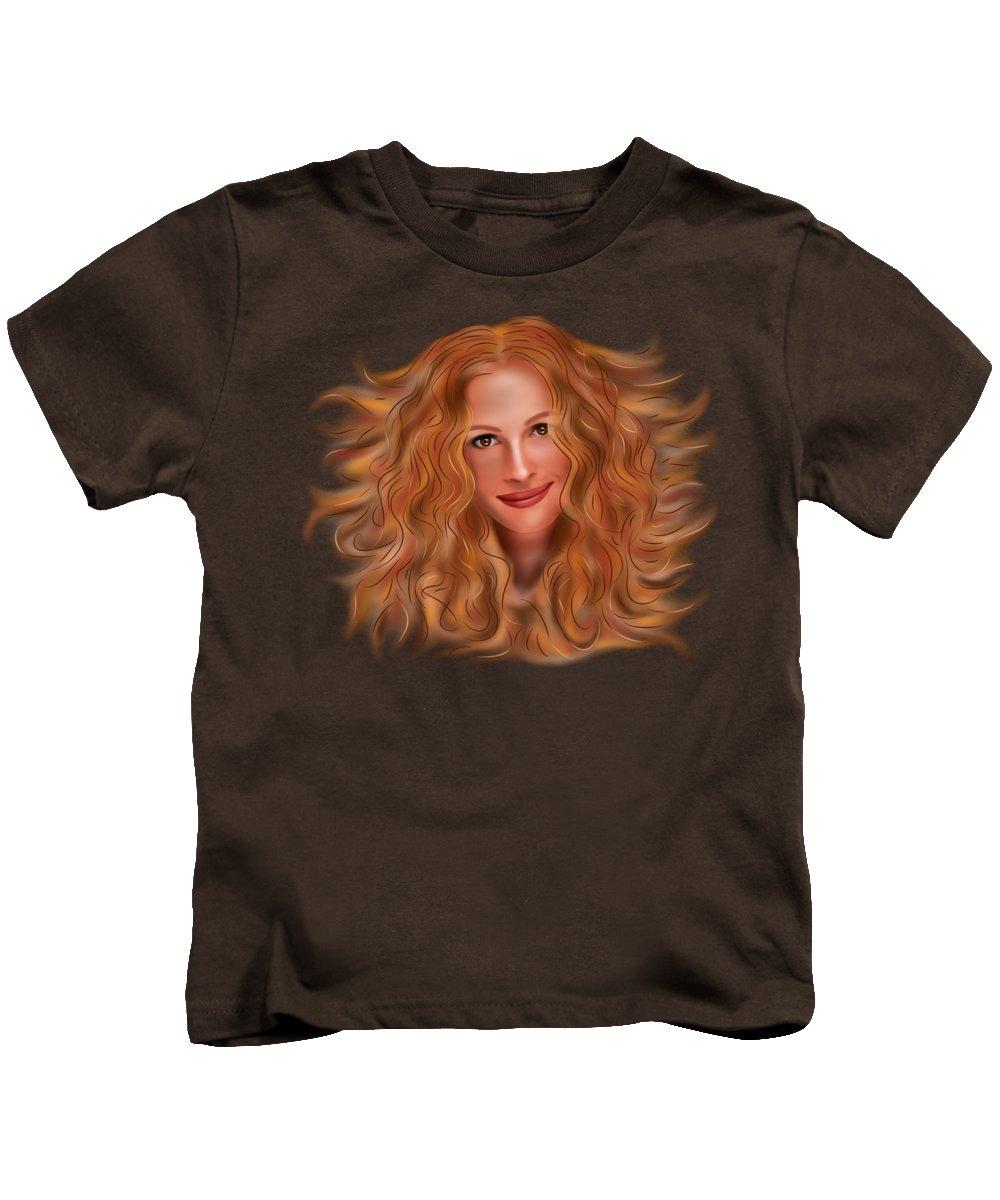 Famous Kids T-Shirt featuring the painting Julorobani - Julia Roberts Portrait by Cersatti