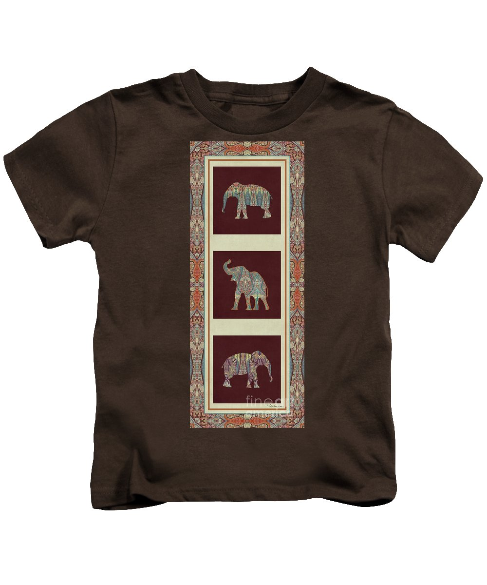 Rust Kids T-Shirt featuring the painting Kashmir Elephants - Vintage Style Patterned Tribal Boho Chic Art by Audrey Jeanne Roberts
