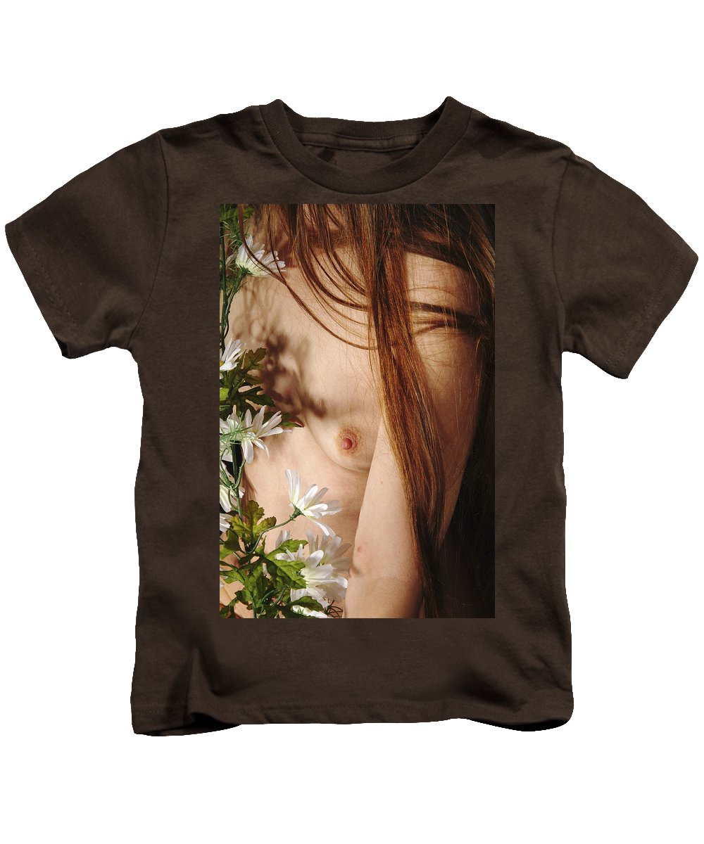 Female Nude Abstract Mirrors Flowers Kids T-Shirt featuring the photograph Kazi1141 by Henry Butz