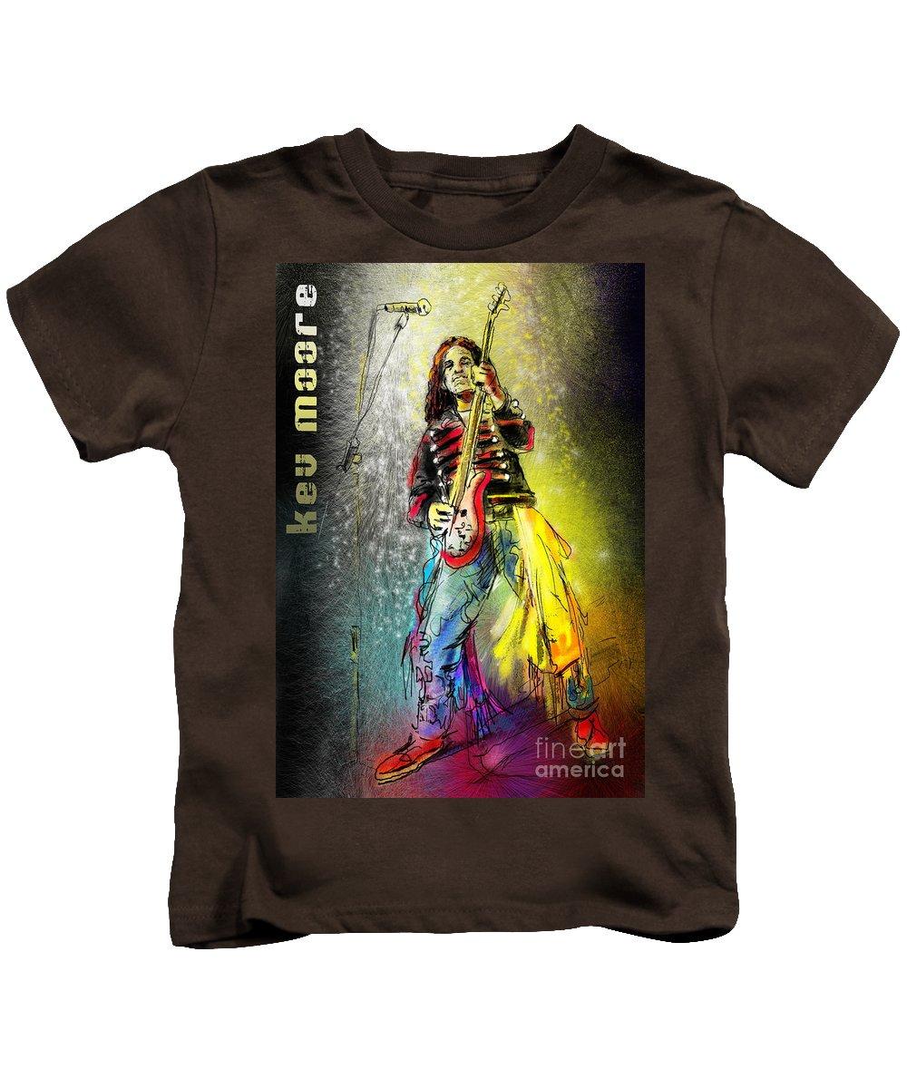 Kev Moore Portrait Kids T-Shirt featuring the digital art Kev Moore by Miki De Goodaboom