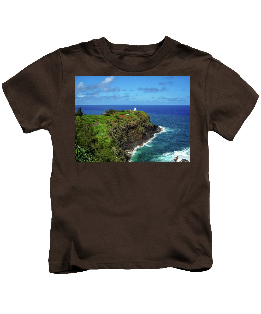 Landscape Kids T-Shirt featuring the photograph Kilauea Lighthouse by James Eddy