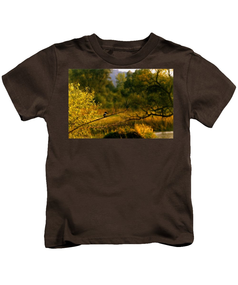 Landscape Kids T-Shirt featuring the photograph King Fisher by Steve Karol