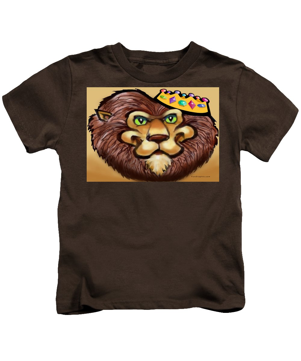 Lion Kids T-Shirt featuring the digital art King by Kevin Middleton