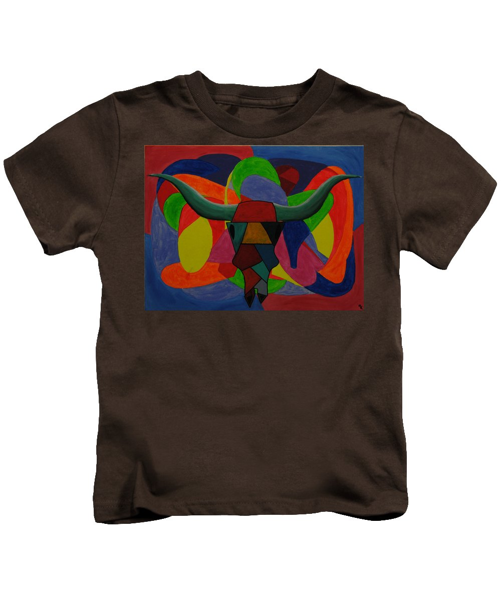 Cattle Kids T-Shirt featuring the painting King Of The Ranch by Robert Kelley
