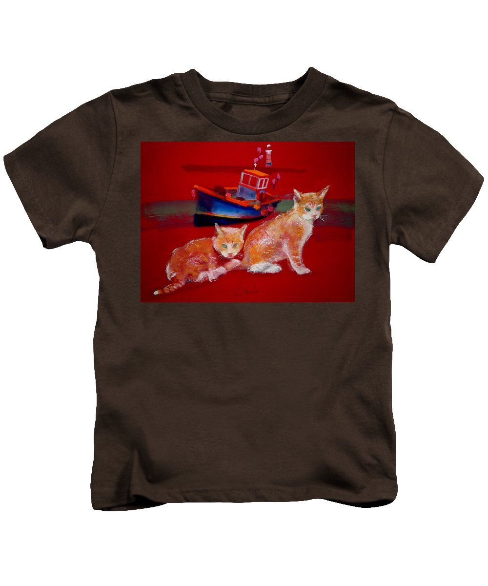 Kittens Kids T-Shirt featuring the painting Kittens On The Beach by Charles Stuart