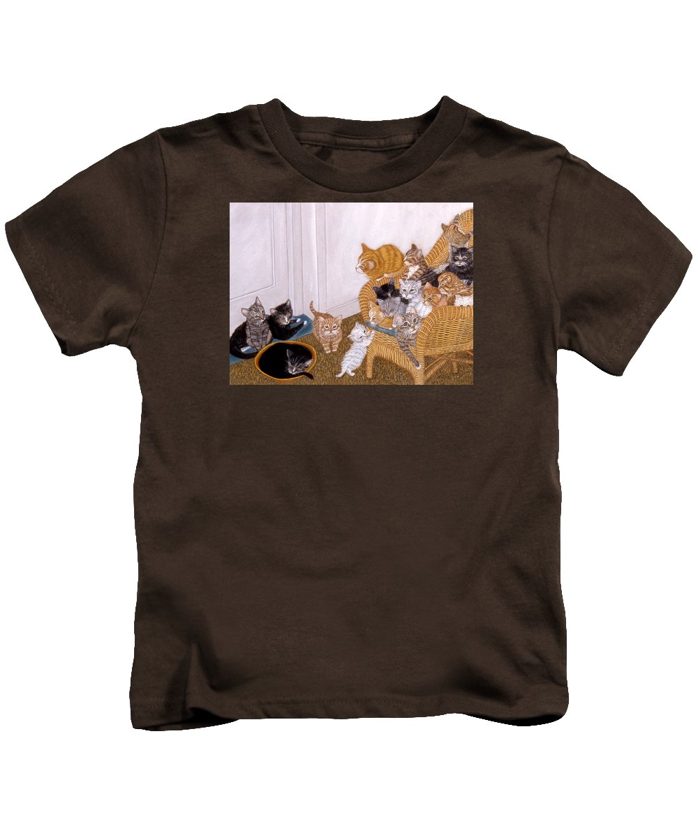 Karen Zuk Rosenblatt Art And Photography Kids T-Shirt featuring the painting Kitty Litter II by Karen Zuk Rosenblatt