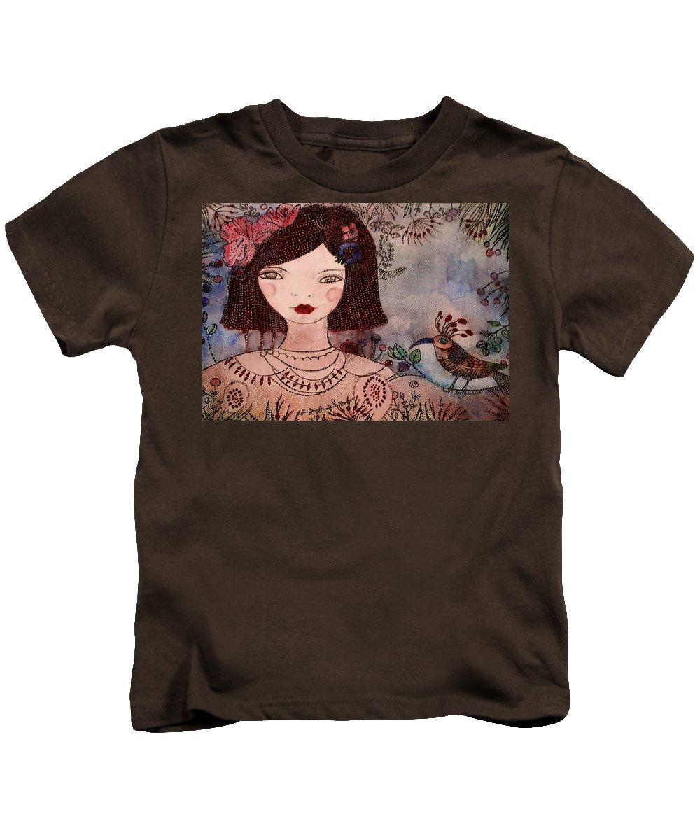 Fillette Kids T-Shirt featuring the painting La Jolie Poupee Et L' Oiseau by Anne BAZABIDILA