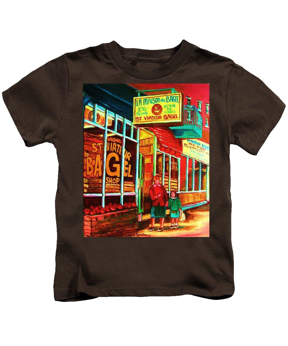 Montreal Kids T-Shirt featuring the painting La Maison Du Bagel by Carole Spandau