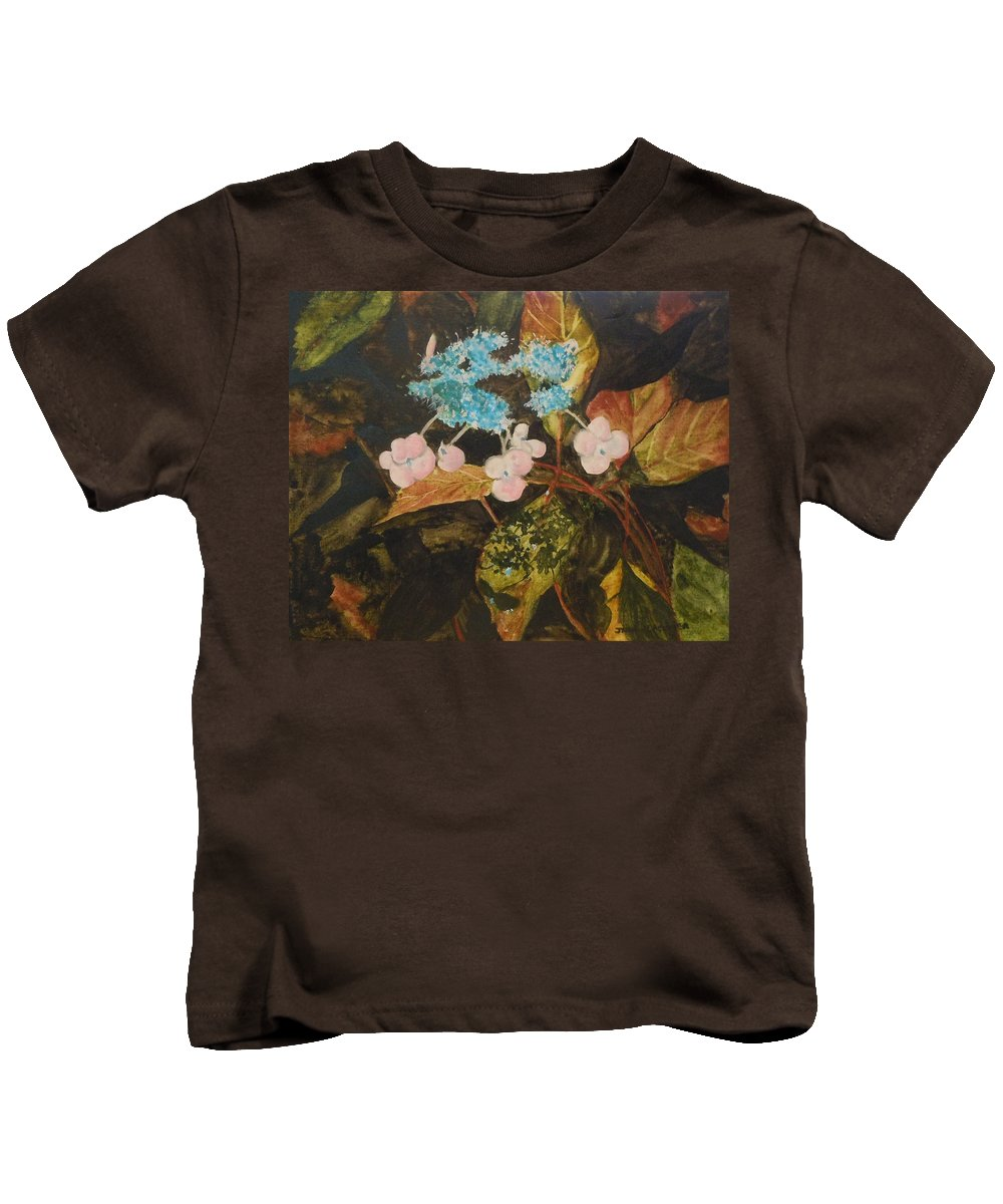 Flowers Kids T-Shirt featuring the painting Lace Cap 2 by Jean Blackmer