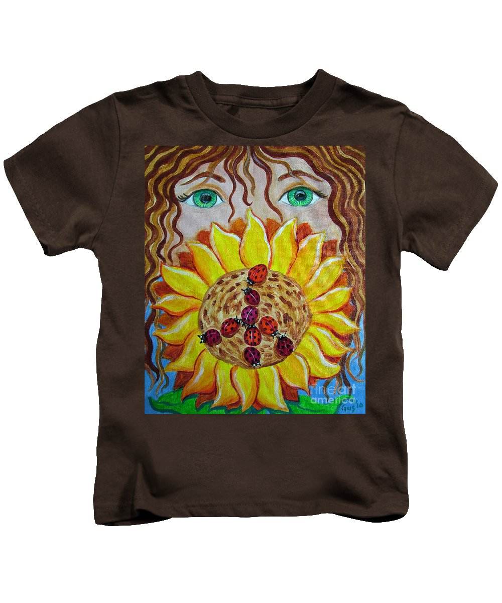 Lady Bug Kids T-Shirt featuring the painting Lady Bug Peace by Nick Gustafson