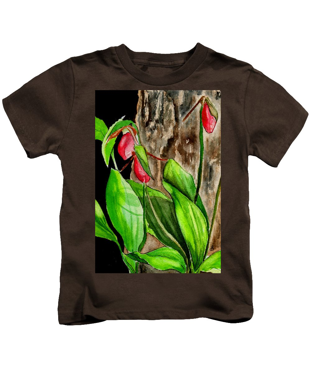 Watercolor Kids T-Shirt featuring the painting Lady Slippers by Brenda Owen