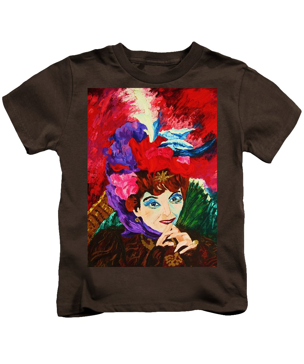 Red Hats Kids T-Shirt featuring the painting Lady With The Red Hat by Carole Spandau