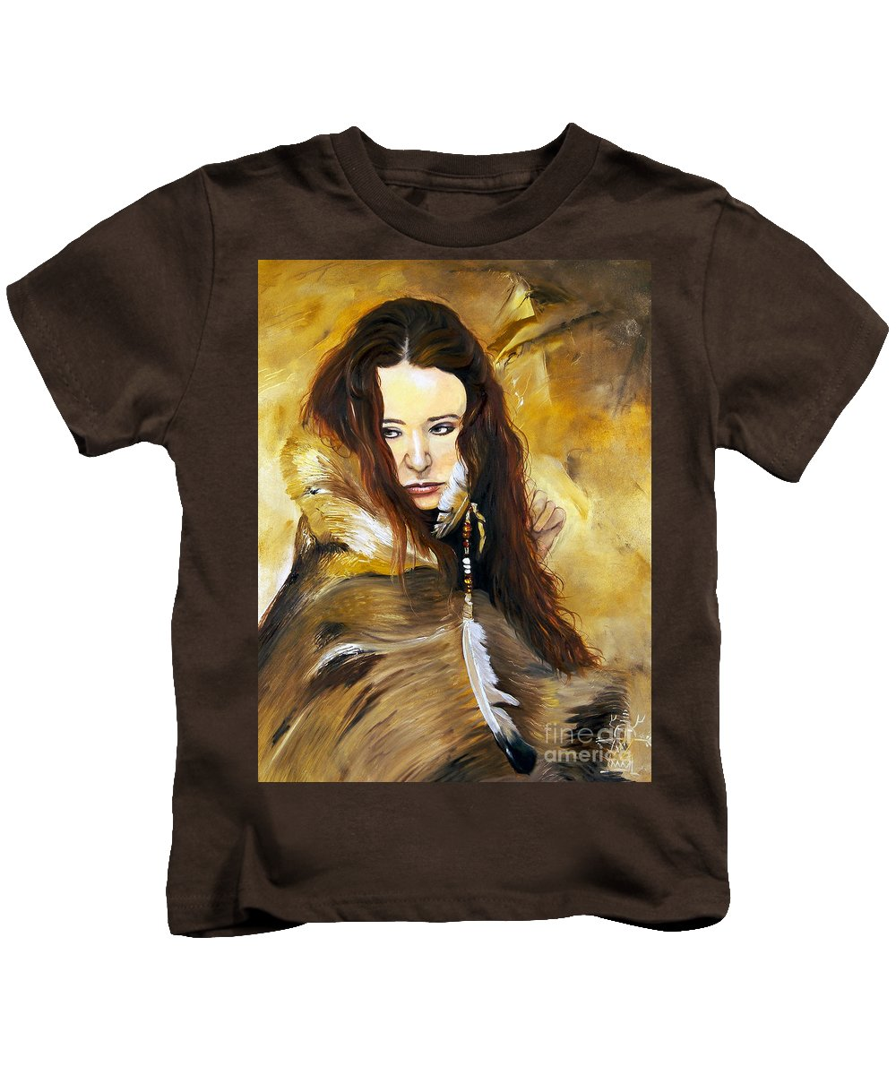 Southwest Art Kids T-Shirt featuring the painting Lament by J W Baker