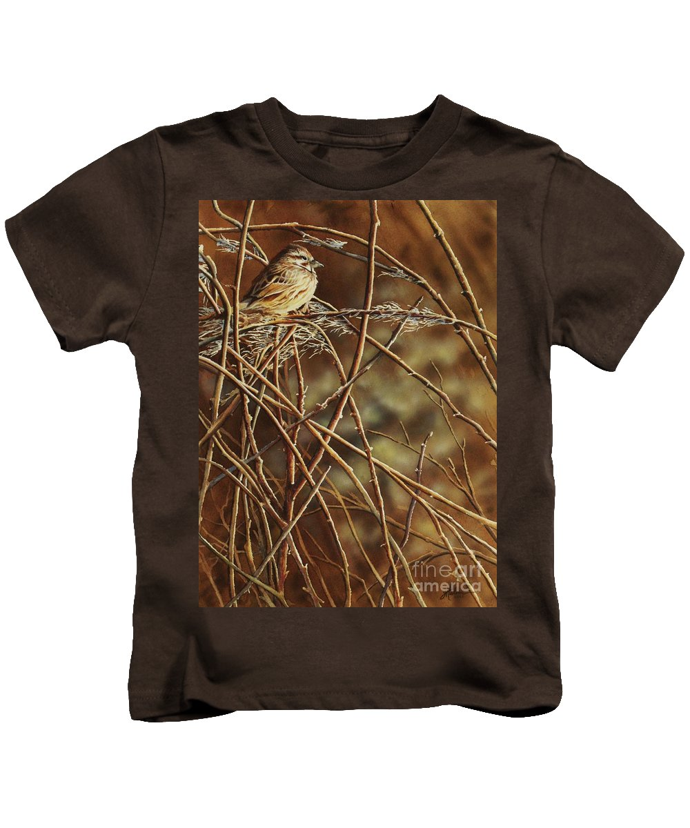 Sparrow Kids T-Shirt featuring the painting Last Light by Greg and Linda Halom