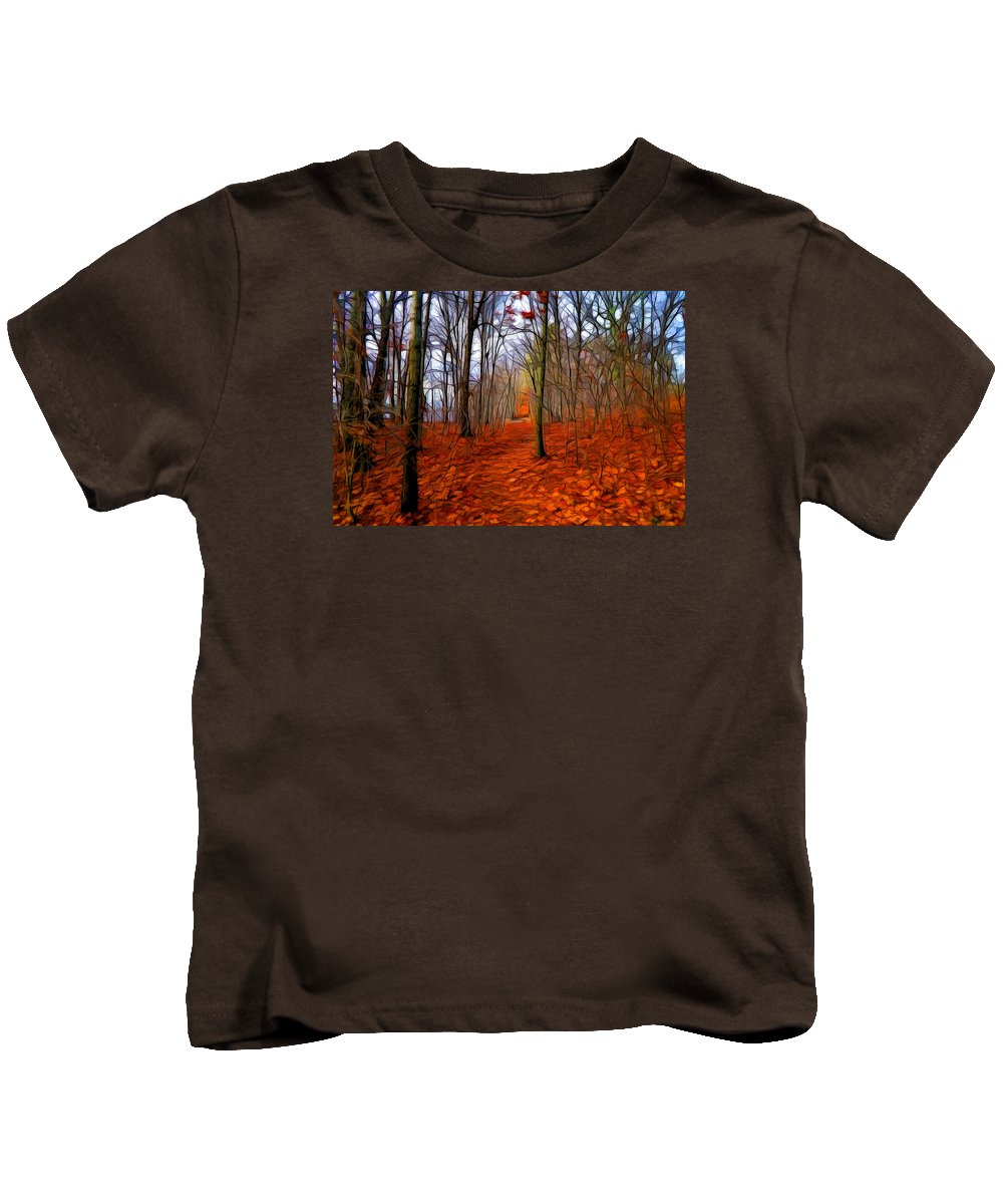 Digital Painting Kids T-Shirt featuring the painting Late Fall In The Woods by Lilia D