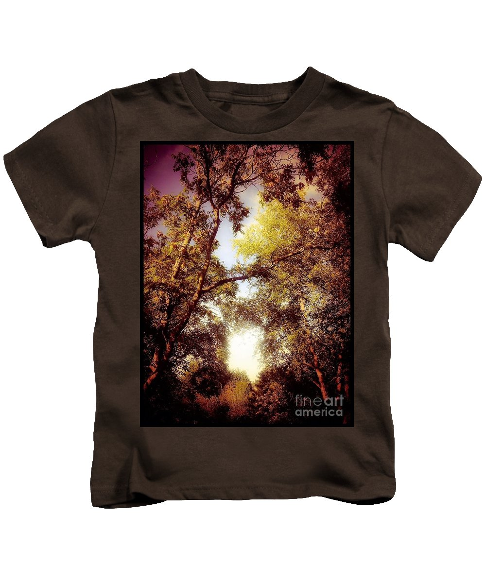 Trees Kids T-Shirt featuring the photograph Late Summer View Of Sky And Trees by Debra Lynch