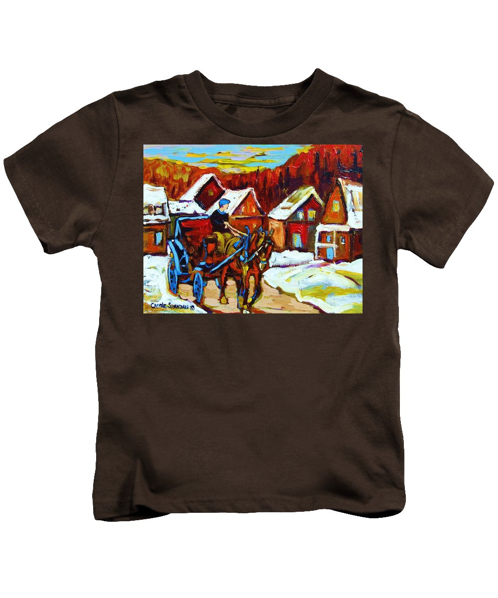 Horse And Carriage Kids T-Shirt featuring the painting Laurentian Village Ride by Carole Spandau