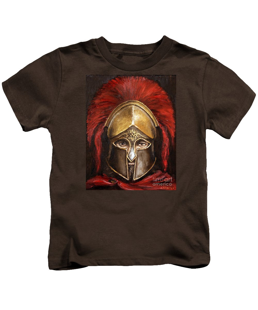 Warrior Kids T-Shirt featuring the painting Leonidas by Arturas Slapsys