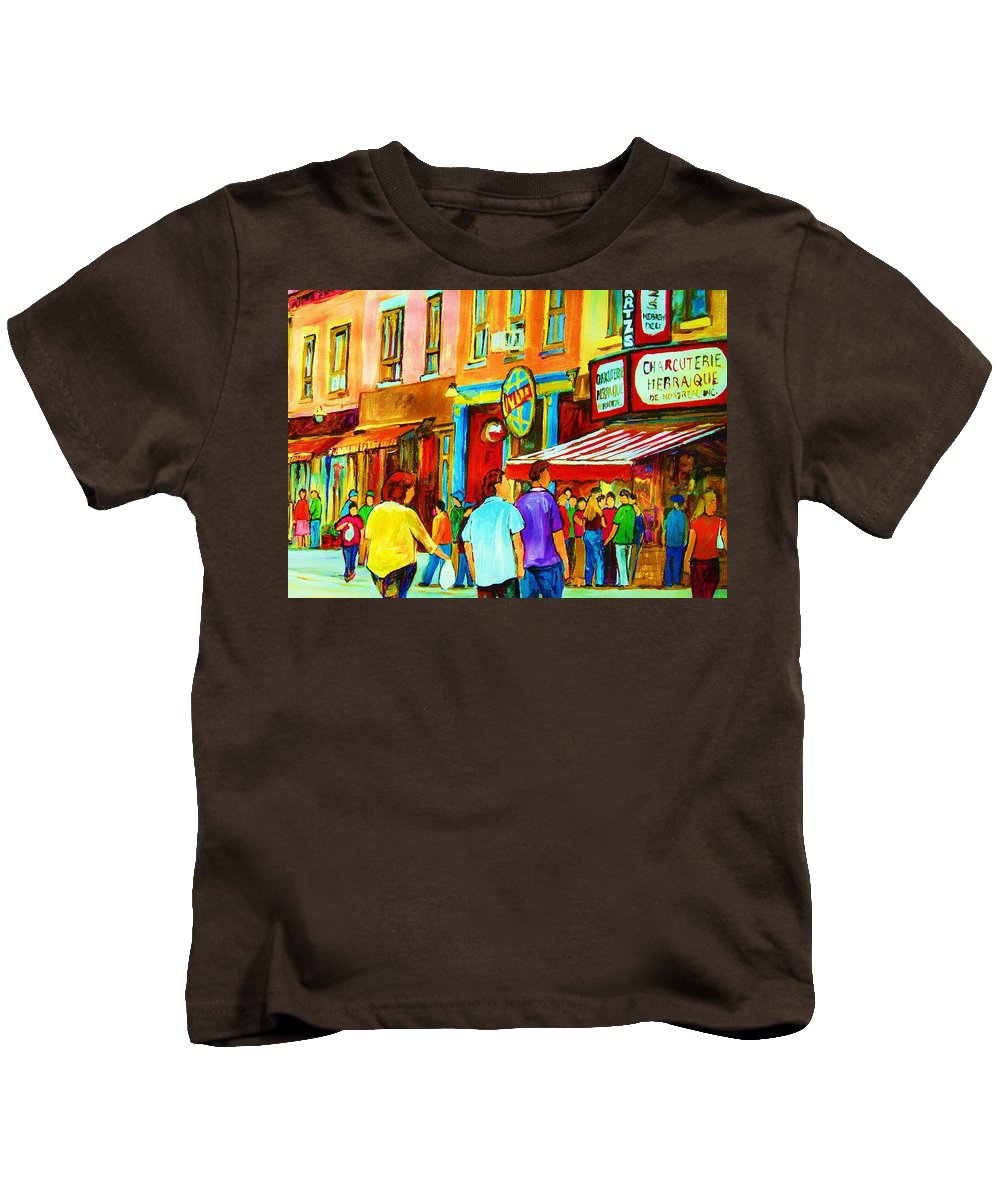 Cityscape Kids T-Shirt featuring the painting Lets Meet For Lunch by Carole Spandau