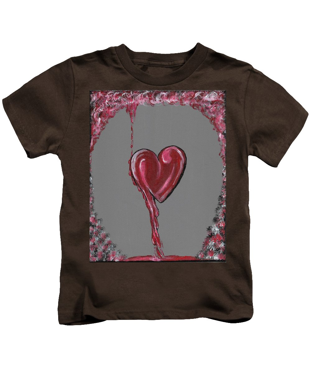 Heart Kids T-Shirt featuring the painting Lifes Grey Area by Eric Atherton