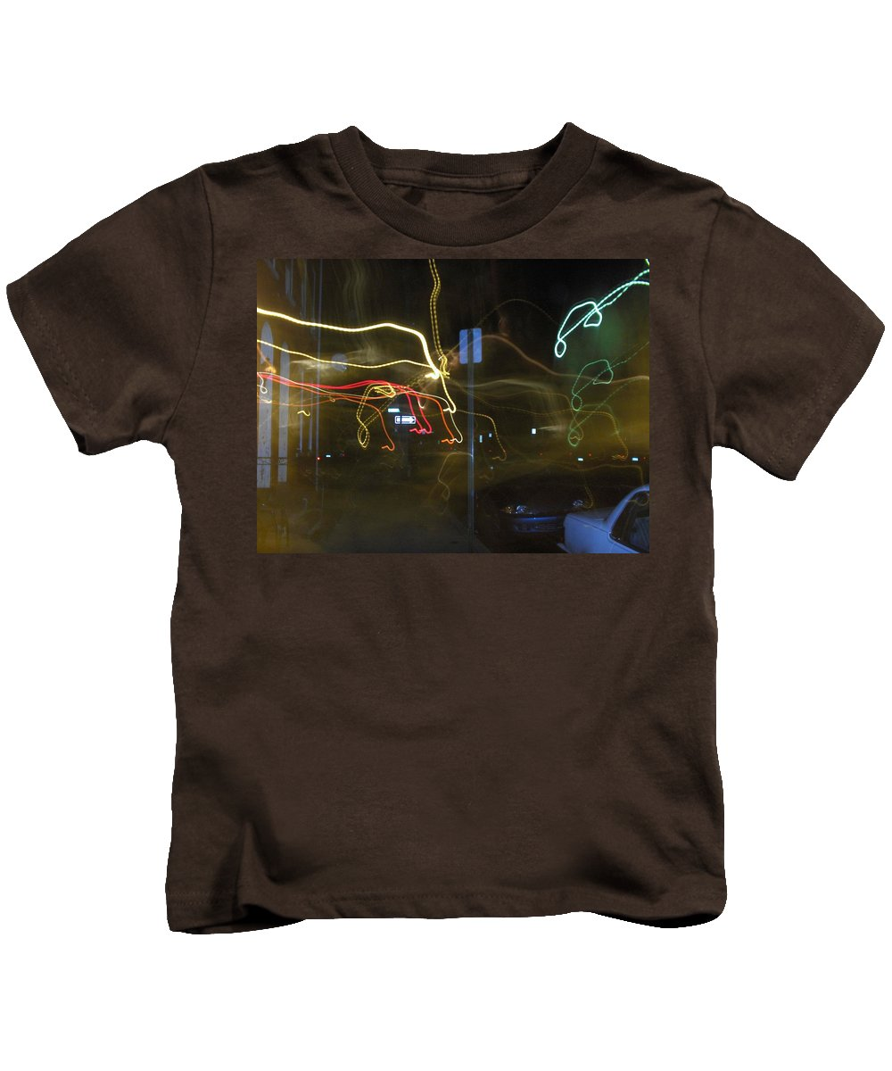 Photograph Kids T-Shirt featuring the photograph Lights That Attack Cars Two by Thomas Valentine