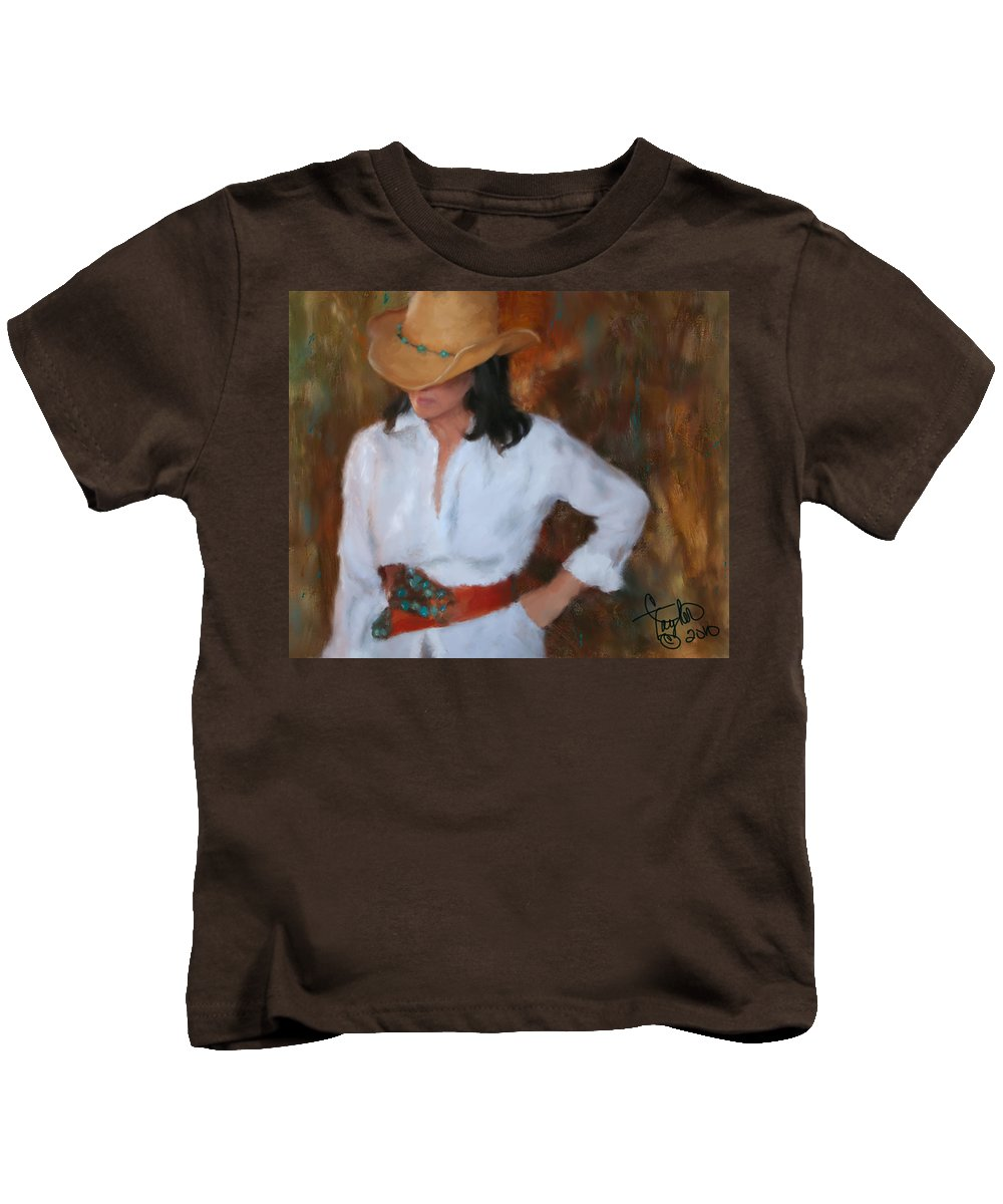 Cowgirl Kids T-Shirt featuring the painting Liquid Turquoise by Colleen Taylor