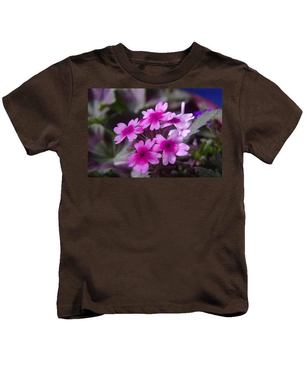 Floral Kids T-Shirt featuring the photograph Little Blue Flowers by Jeff Swan