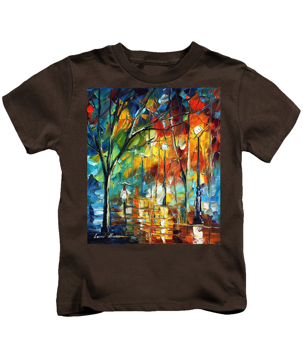 Afremov Kids T-Shirt featuring the painting Little Park by Leonid Afremov
