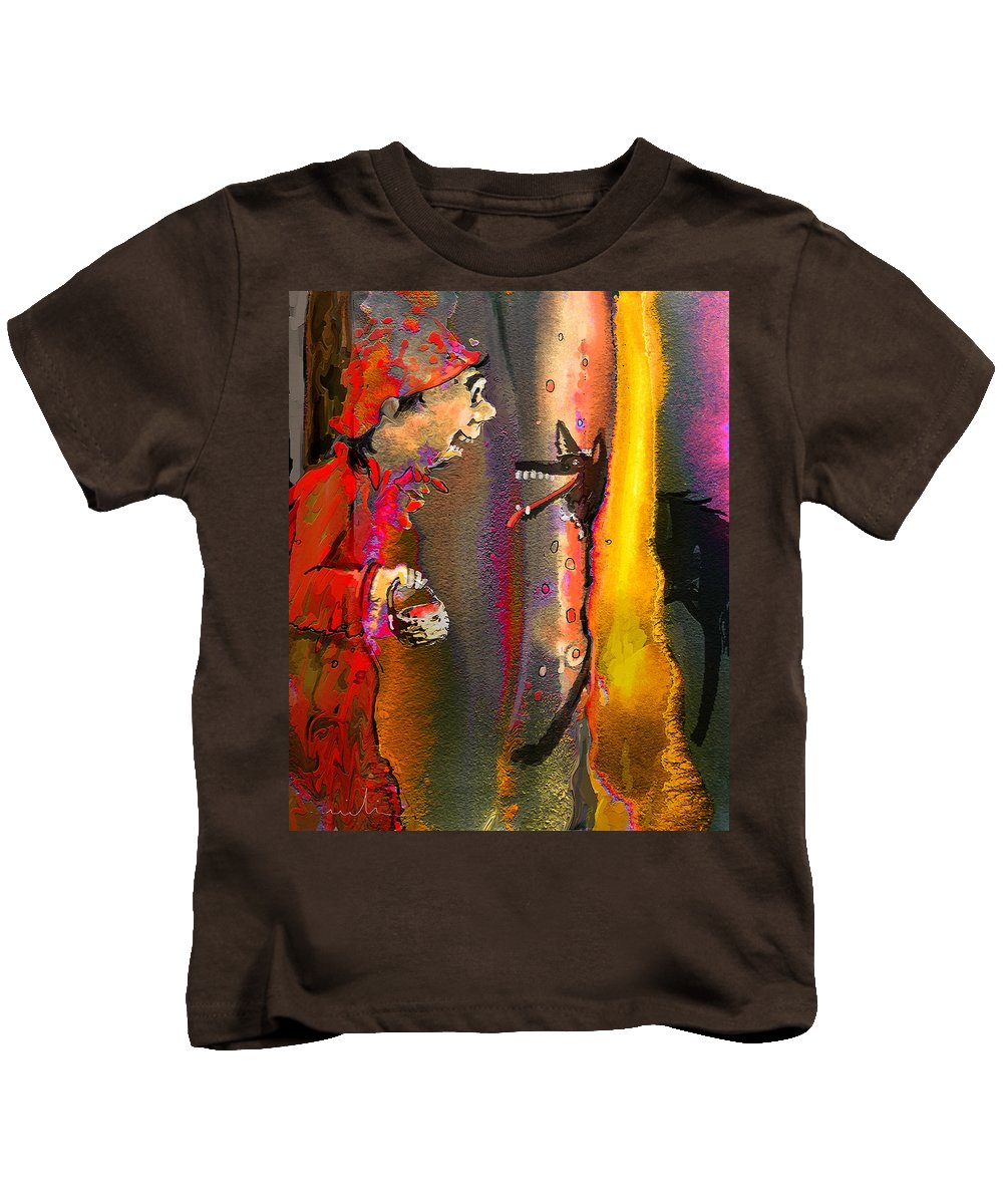 Fairy Tales Art Kids T-Shirt featuring the painting Little Red Riding Hood by Miki De Goodaboom
