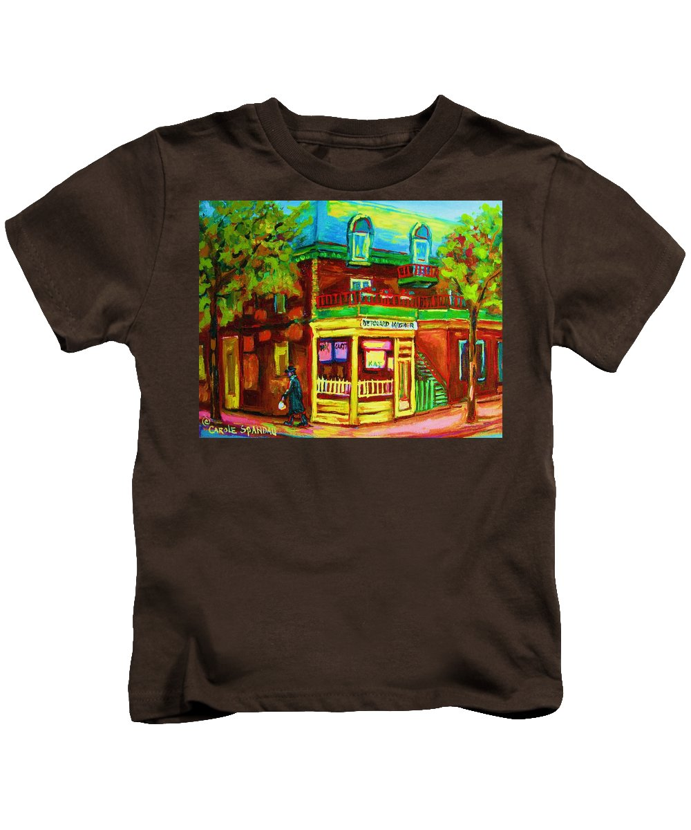 Montreal Streetscenes Kids T-Shirt featuring the painting Little Shop On The Corner by Carole Spandau