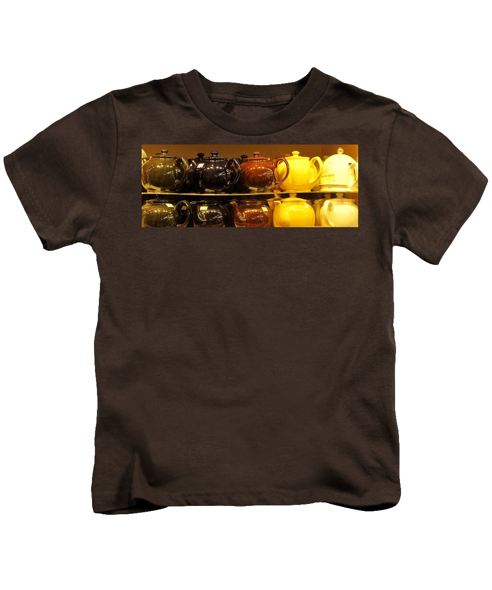 Teapots Kids T-Shirt featuring the photograph Little Teapots by Ian MacDonald