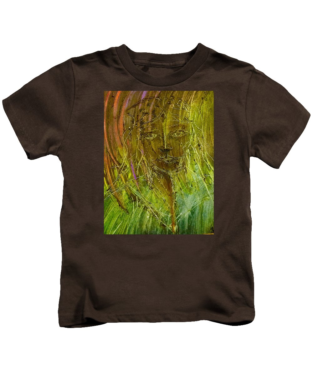 Lady Kids T-Shirt featuring the painting Lonely Lady by Brad Mullins
