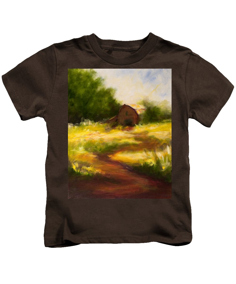 Landscape Kids T-Shirt featuring the painting Long Road Home by Shannon Grissom