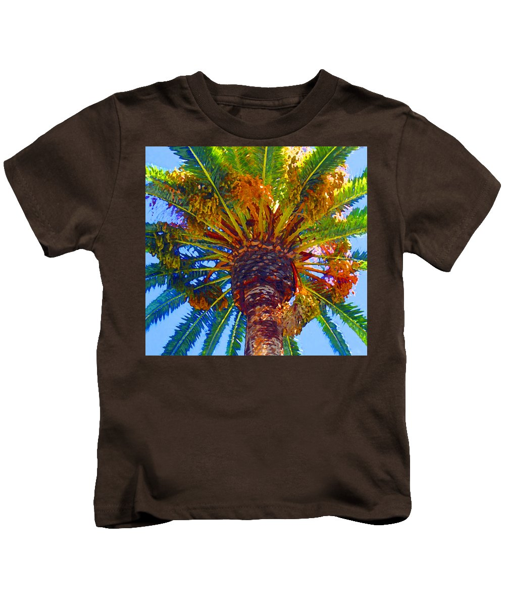 Garden Kids T-Shirt featuring the painting Looking Up At Palm Tree by Amy Vangsgard