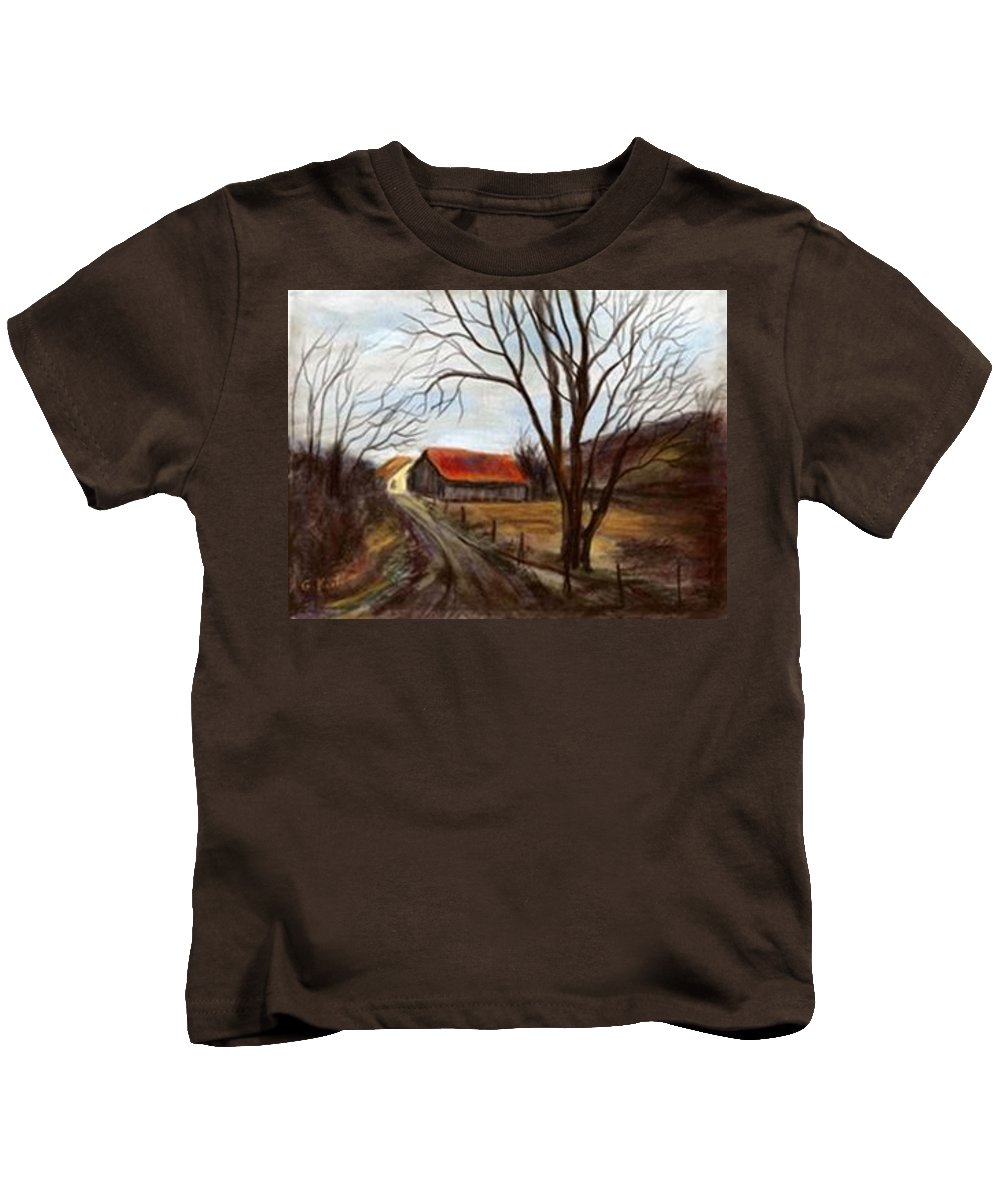 Barn Kids T-Shirt featuring the painting Louisa Kentucky Barn by Gail Kirtz