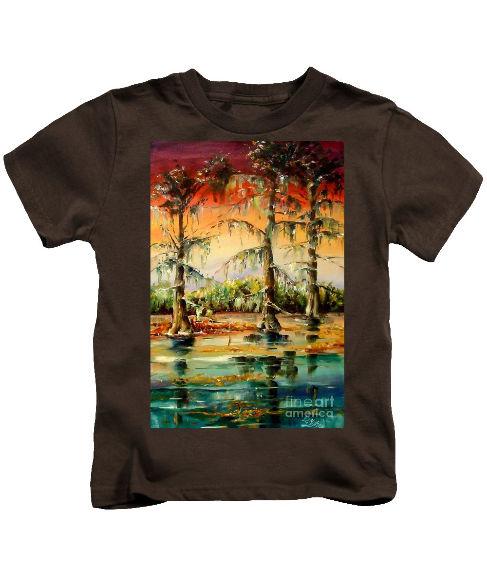 Louisiana Kids T-Shirt featuring the painting Louisiana Swamp by Diane Millsap