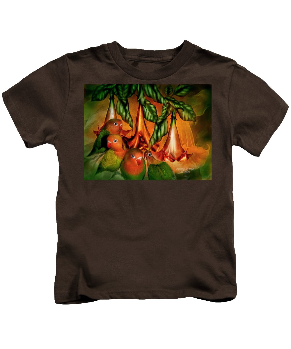 Lovebird Kids T-Shirt featuring the mixed media Love Among The Trumpets by Carol Cavalaris