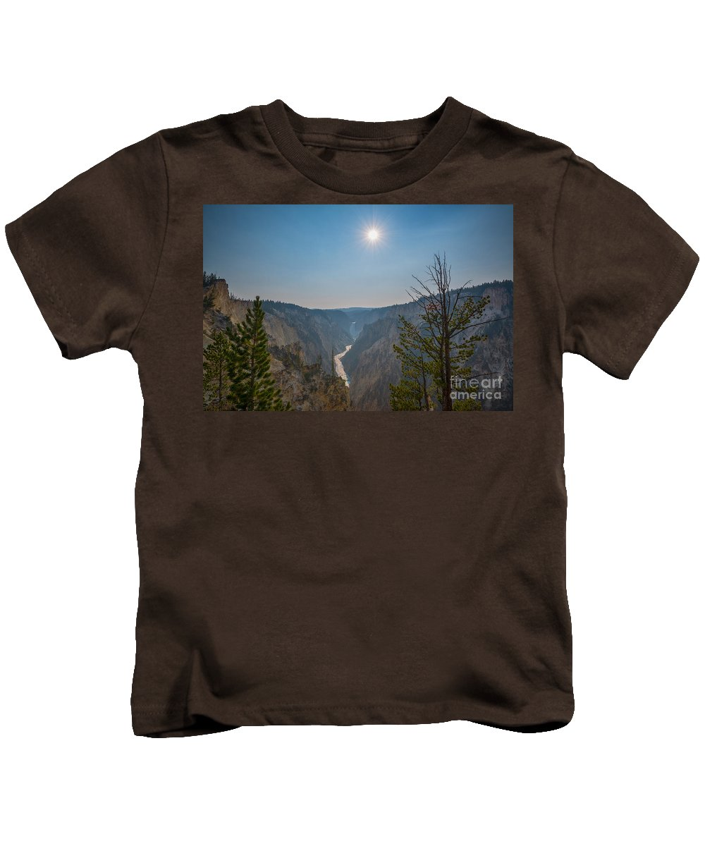 Yellowstone Kids T-Shirt featuring the photograph Lower Yellowstone Falls by Michael Ver Sprill