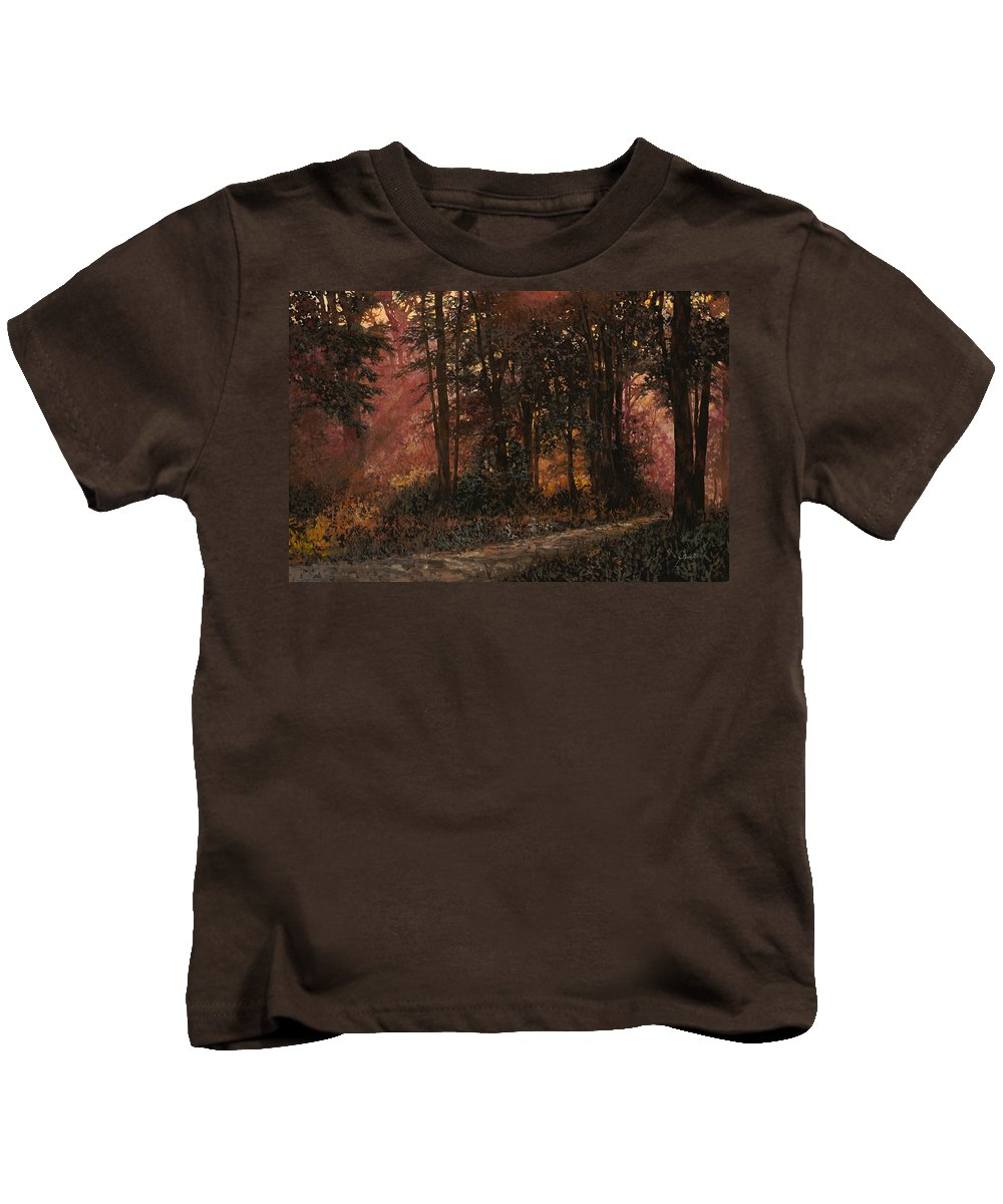 Wood Kids T-Shirt featuring the painting Luci Nel Bosco by Guido Borelli