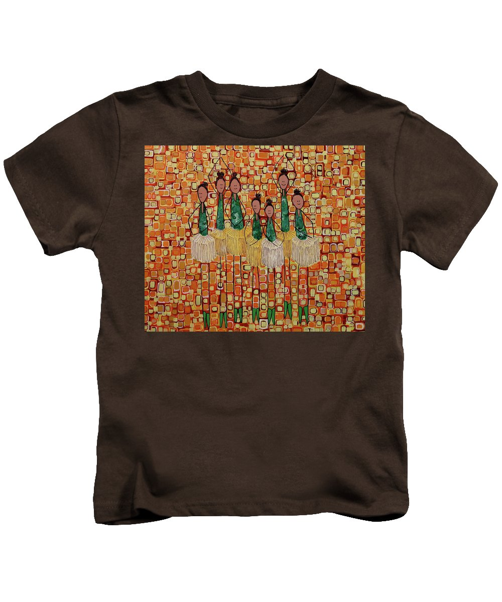 Dancing Kids T-Shirt featuring the painting Lucky Seven by Donna Howard