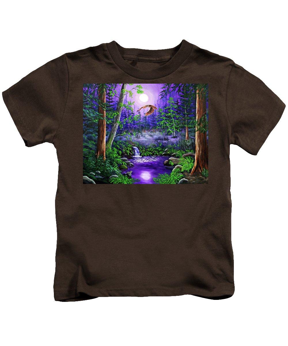 Zenbreeze Kids T-Shirt featuring the painting Luna's Flight by Laura Iverson