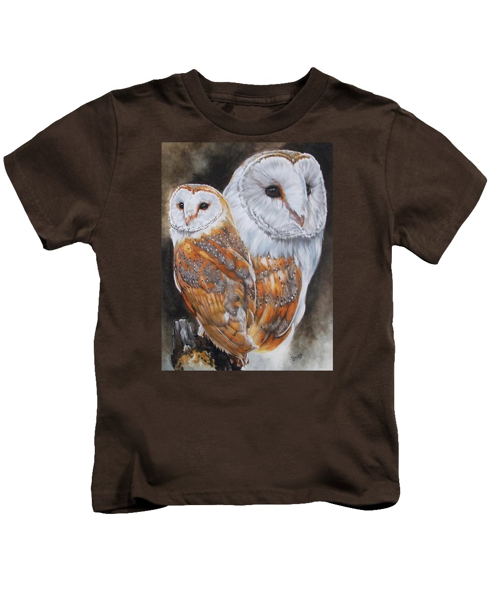 Bird Kids T-Shirt featuring the mixed media Luster by Barbara Keith
