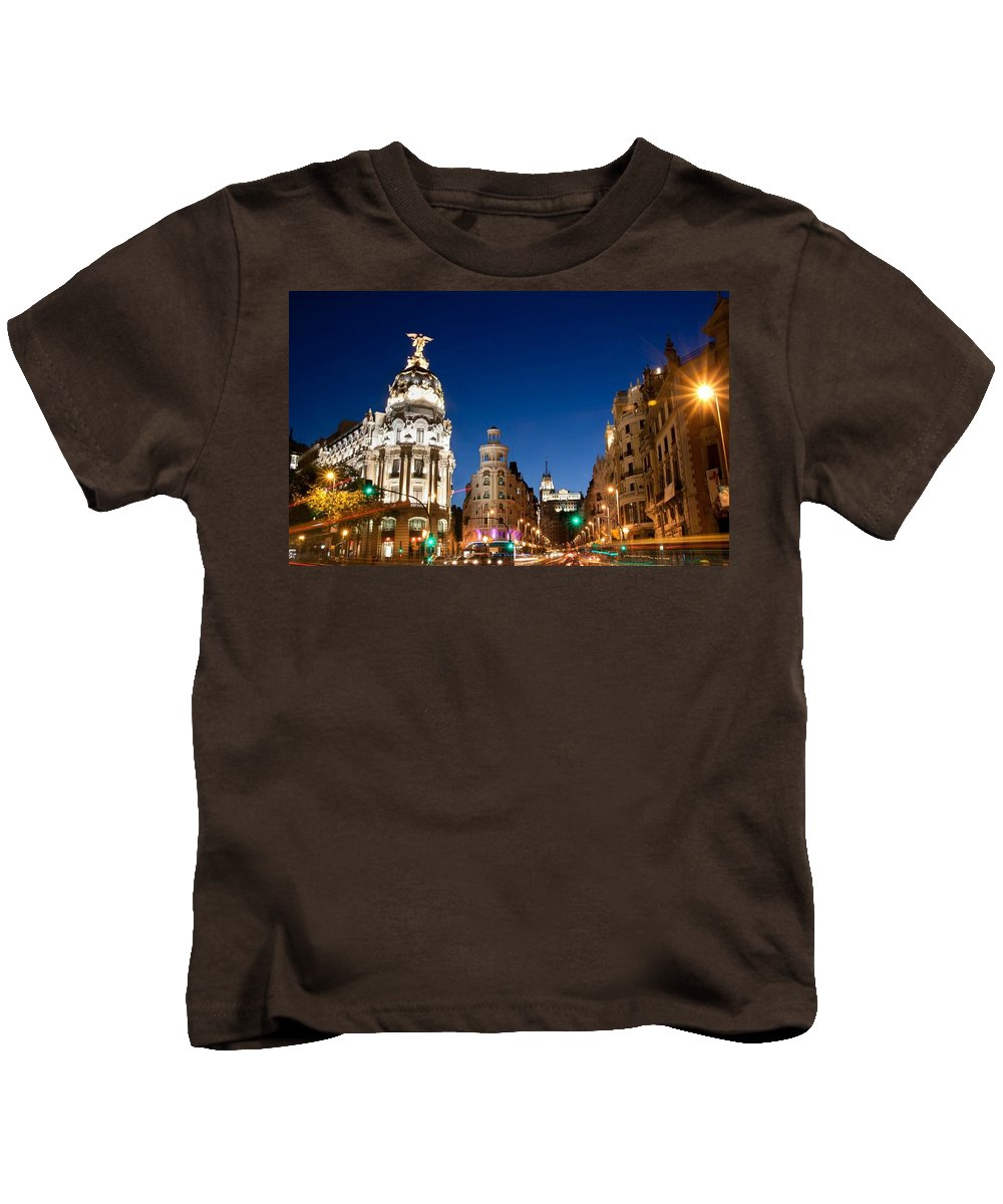 Madrid Kids T-Shirt featuring the digital art Madrid by Dorothy Binder