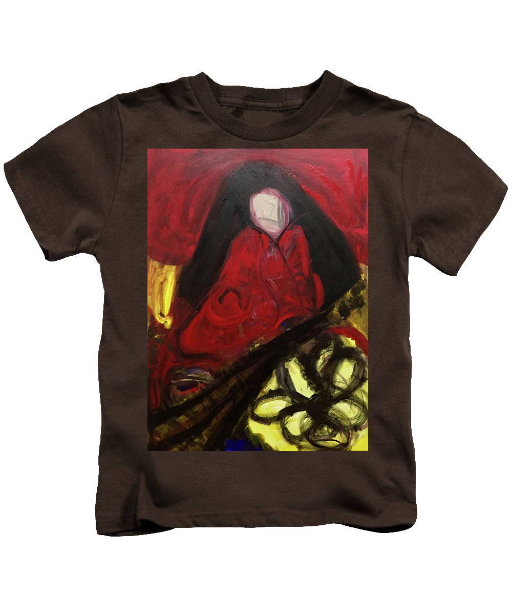 Abstract Kids T-Shirt featuring the painting Madura by Nicole Saenz